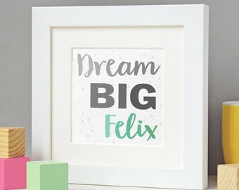 New Baby Dream Big Personalised Framed Print - New Baby Print - Personalised Nursery Artwork - Inspirational Quote Print - Framed Keepsake