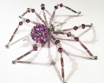 Sasha - purple and white glass beaded spider goth sun catcher - Halloween decoration - Christmas ornament