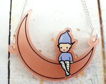 Blush Pink Pixie Moon Necklace and gift box