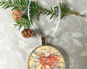 Pittsburgh Map Ornament  50mm  Handcrafted for Holiday or Housewarming Gift for Travelers or Hometown Adventures Tree Trimmer