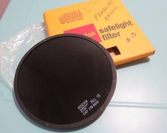 SJK Vintage -- My Dad's Estate -- Kodak Glass 5.5 Inch Safelight Filter, Number 13 Amber Brown  (1980's)