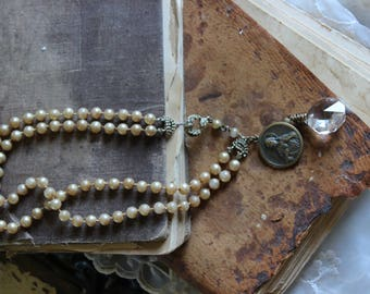Antique Assemblage Necklace Double Strand Pearls Rhinestone Clasp Religious Medal Crystal Wired Vintage Assemblage