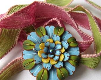 Blue, Green and Yellow Flower Wrap Bracelet Pink and Green Silk Ribbon Wrap Bracelet,Polymer Clay Pendant Wrap Bracelet,Hair Accessory