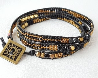 It's a Wrap - Black, Bronze and Antique Gold Beadwoven Wrap Bracelet