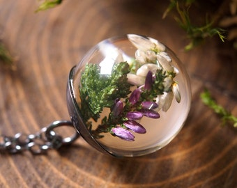 Violet and White Heather Pendant, Botanical Necklace with Sterling Silver Chain, Romantic Jewelry