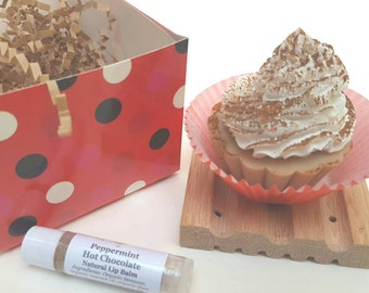 Cupcake Soap, All Natural Soap, Peppermint Soap, Lip Balm, Chocolate Soap, Soap Gift Set, Mother's Day Gift, Soap & Lip Balm, Gift Box