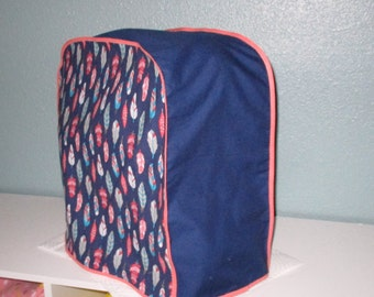 Kitchen Aid mixer cover with a Southwestern feel, in navy, coral and Turquoise.