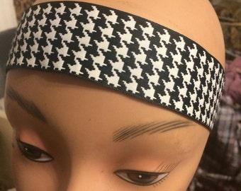 Two (2) Black/White Houndstooth Elasticized Headband Size (M)