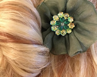 Green with Envy - Floral Hair Adornment