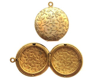 Vintage Raw Brass Lockets with Floral Texture (2X) (L505-B)