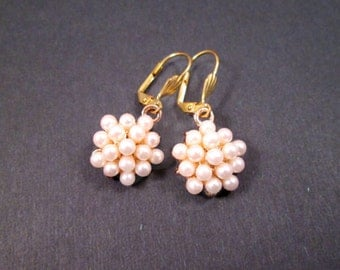 Pearl Cluster Earrings, Creamy White and Gold Dangle Earrings, FREE Shipping U.S.
