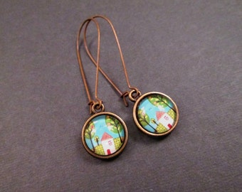 Cabochon Earrings, Tiny House in the Woods, Brass Dangle Earrings, FREE Shipping U.S.