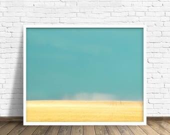 "landscape, landscape art, wall art, large art, large wall art, wheat field, summer, colorful, modern, contemporary, print - ""Blue Heaven"""