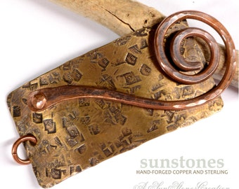 Hand Forged Mixed Metal Bracelet Focal Component,  Antiqued Brass, Copper, Bracelet Link, DIY Jewelry Making JC604