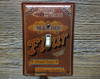 Light Switch Plate Covers Retro Kitchen Canisters Golden Harvest Flour Tin Vintage Lighting Switchplates SP-0387