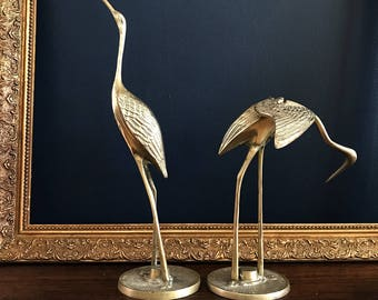 Vintage pair of brass herons