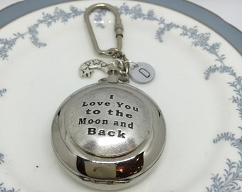 Working Compass, Compass Keychain, I love you to the moon and back, Gift for him, Husband gift, boyfriend gift, Valentine's Day Gift