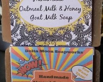 Oatmeal Shea Goat Milk Soap, sweet Almond Oatmeal Goat Milk Soap, Oatmeal soap, coworker gift , cold process soap, exfoliating soap,
