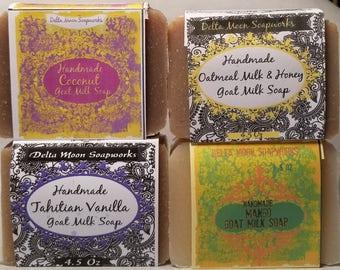 Summer Goat Milk Soap assortment, Cold Process Soap, sensitive skin soap, Coconut Soap, Mango Soap, shaving soap, facial Soap, Gift Soap