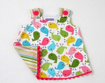 Rainbow Birds Newborn Dress, Baby Girls Dress, Baby Dress, Girls Dress, Girls Dresses, Take Home Outfit, Baby Shower Gift, Size Newborn