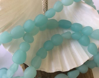 sea glass bead nugget-beach glass drilled~ Sea Opal blue blue- 21 Pc drilled bead-tumbled-supplly-cultured sea glass,recycled glass bead