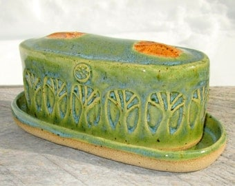 Handmade Butter Dish with Tree Designs in Jade Green and Oatmeal