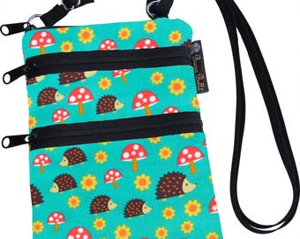 Ella Bella Purse - Cross body Purse - 3 Zippered Pockets - Adjustable Strap - Washable - FAST SHIPPING - Cell Phone Purse - Hedgehogs Fabric