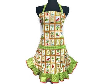 Retro Kitchen Apron for Women , Flower and Vegetable Seed Packets , Brown with Green Ruffles / Adjustable with pocket