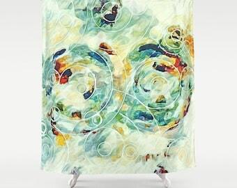 Shower Curtain Green Watercolor Pastel Art