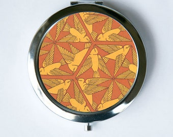 Art Nouveau Birds Compact Mirror Pocket Mirror design Pattern