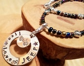 Live Love JEEP hand stamped and polished aluminum washer beaded choker necklace 16""