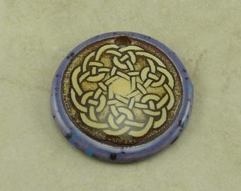 """Lavender Celtic Disk Pendant - Three Butter Fly Motif with Ivory and Mocha Brown - Clay River Designs 1 1/4"""" Diameter I ship Internationally"""