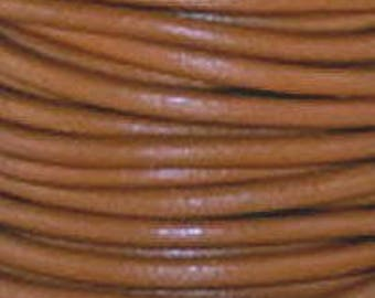 """2mm Round Henna Brown Leather Lace Cord - 2mm 3/32"""" Camel Diameter Craft Jewelry Bracelet Wrap Necklace - I ship Internationally"""