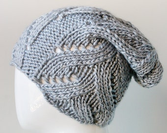 Slouch Hat, Women's Hat, Hand Knit Merino Wool and Silk Winter Hat, LIGHT GREY