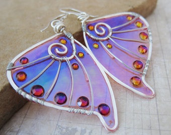 Sihaya Designs Faery Wing Earrings - Banshee - Iridescent Fairy Wing Jewelry