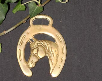 Vintage or Antique Horse & Horse Shoe Horse Brass  - For Luck  - Folk Magic, British, Pagan