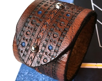 Tooled Brown Leather Cuff Bracelet with Silver Studs and Adjustable Closure, Eco Friendly, Leather Wristband, Seattle Handmade, Unisex, OOAK