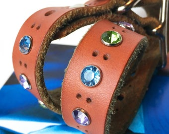 Brown Leather Dog Collar with Cool Tone Rhinestones, Size S, Small Dog Collar, 9-13in Neck, Made in USA, Eco Friendly by Greenbelts, OOAK