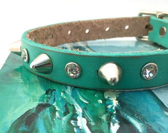 Rustic Aqua Blue Leather Dog Collar with Crystal Rhinestones and Gentle Spikes, Size Small Dog to fit a 11-14 Neck, Seattle Handmade in USA
