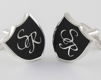 Monogram Crest Cufflinks in Sterling Silver and black enamel, personalized