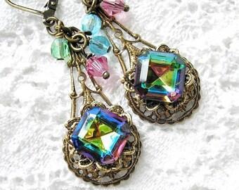 Enchanted Rainbow Vintage Vitrail Beaded Cluster Dangle Earrings