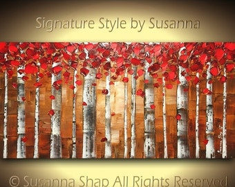ORIGINAL Landscape Oil Painting Autumn Red birch Aspen Abstract Art Modern Palette Knife Impasto Canvas Artwork 48x24 Made to Order -Susanna