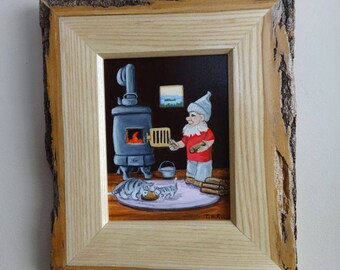 """Framed Original Oil Painting, Woodland Gnome, """"Another Log on the Fire""""."""