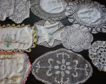 Lot Crochet Doilies Lace Doily Vintage Embroidery Table Topper Handmade Shabby Chic Home Decor or Cutter Doilies Craft and Sewing Supplies