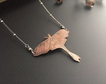Luna Moth Recycled Copper Necklace