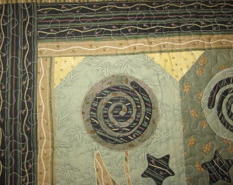 Abstract Lollipop Wallhanging in Sage Greens  891