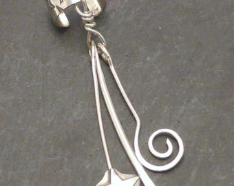 Handcrafted Sterling Dangle Ear Cuff - SHOOTING STAR - 925 Silver Ear Band Wrap OOAK One of a Kind