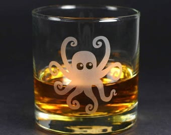 Octopus Lowball Glass - nautical etched glassware
