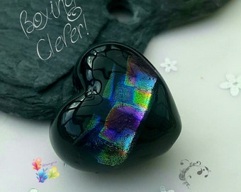 Lampwork Dichroic Heart Bead, Boxing Clever Focal Rainbow Bead