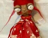 Queen of hearts Ooak  art doll